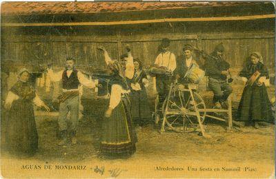 [Mondariz-Balneario]. Aguas de Mondariz. (Alrededores). Una fiesta en Sammil (Pias)
