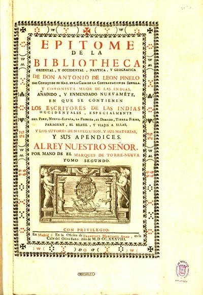 Epitome de la Bibliotheca oriental y occidental, nautica y geografica