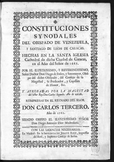 Constituciones synodales del Obispado de Venezuela y Santiago de Leon de Caracas