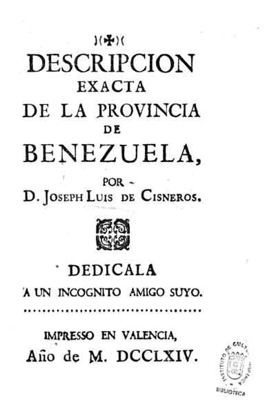 Descripcion exacta de la provincia de Benezuela [sic]