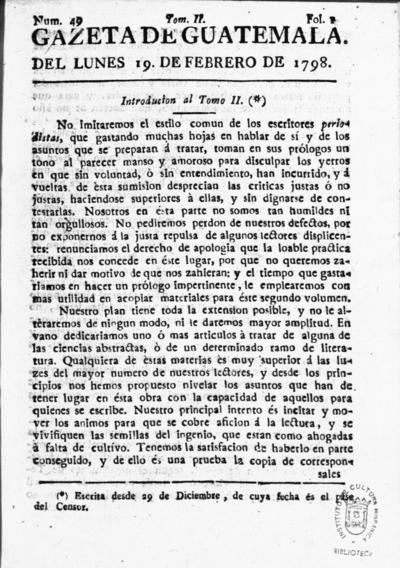 Gazeta de Guatemala tomo II, [VI-VII]
