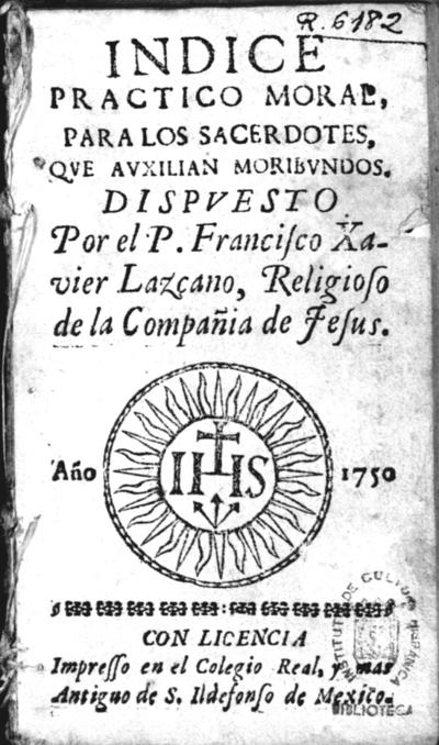 Indice practico moral, para los sacerdotes, que auxilian moribundos