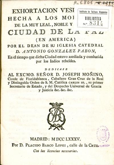 Exhortacion vespertina hecha a los moradores de la muy leal, noble y ... ciudad de La Paz (en America)
