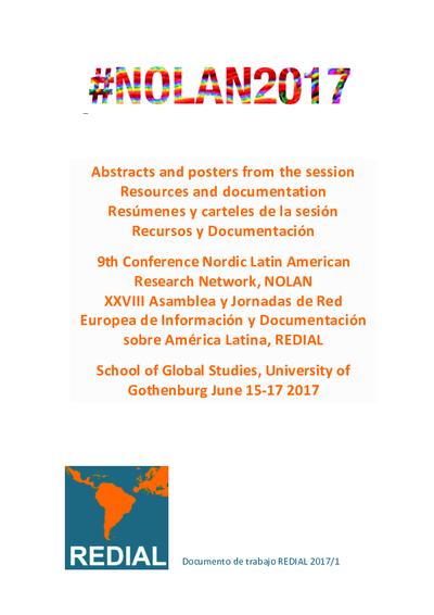 9º NOLAN / XXXVIII REDIAL : Abstracts and posters from the session Resources and documentation = Resúmenes y carteles de la sesión Recursos y Documentación