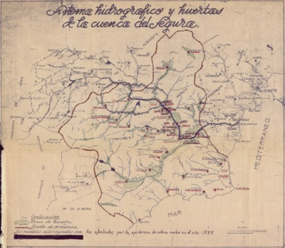 Sistema hidrográfico y huertas de la cuenca del Segura [Material cartográfico] : [plano manuscrito].