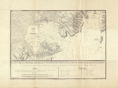 Plano de la ciudad, arsenal y puerto de Cartagena, con su enseñada de Escombrera : la de la Algameca Chica, fuertes y baterías ... / José Mª Panisse, delineó ; Carlos Maigne, grabó.