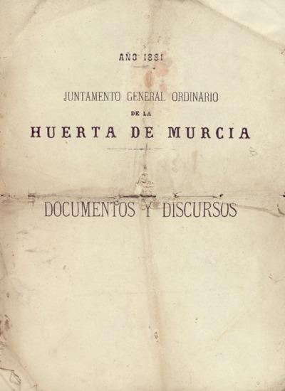 Juntamento general ordinario de la Huerta de Murcia : año 1881.