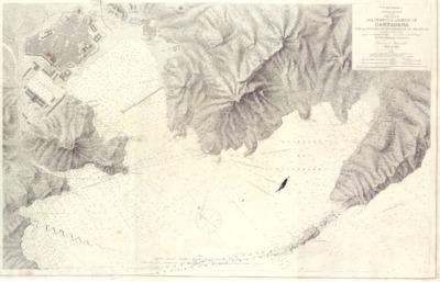 Plano del puerto y arsenal de Cartagena con la ensenada de Escombrera y las Algamecas / levantado en 1875 y 1876 por la Comision Hidrográfica al mando del Capitán de Fragata José Montojo y Salcedo ; E. Fungariño lo grabó, S. Bregante y Mz. gº la letra.