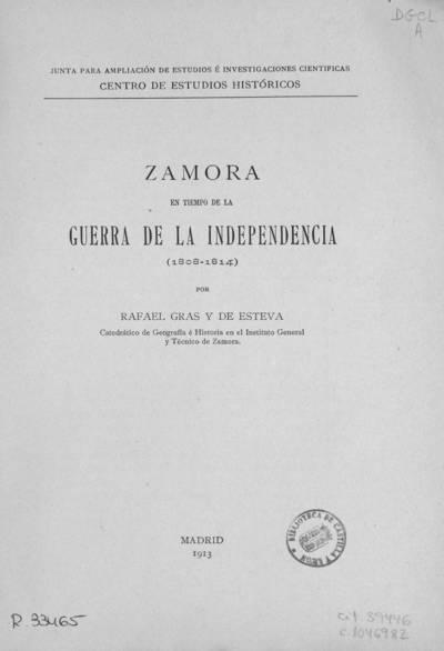 Zamora en tiempo de la Guerra de la Independencia : (1808-1814)