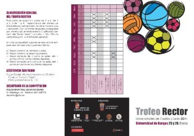 Trofeo Rector : universidades de Castilla y León 2011, Universidad de Burgos, 25 y 26 marzo