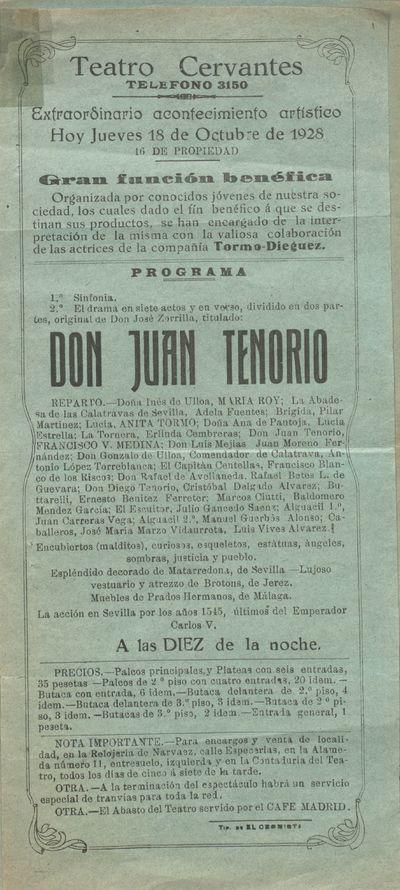 Teatro Cervantes [Material gráfico] ]: extraordinario acontecimiento artístico hoy jueves 18 de octubre de 1928 : gran función benéfica.