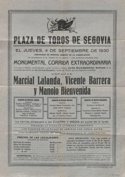 Plaza de toros de Segovia [Material gráfico] ]: el jueves, 4 de septiembre de 1930 ... monumental corrida extraordinaria.