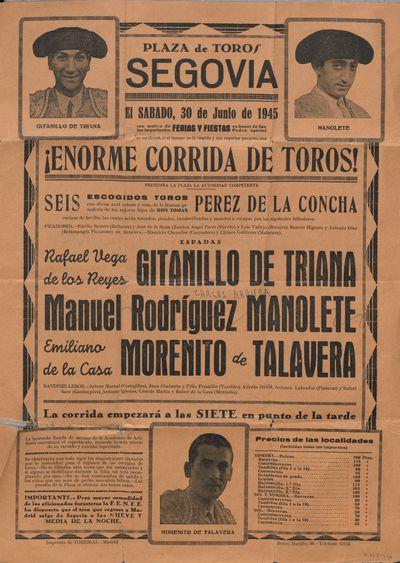 Plaza de toros, Segovia [Material gráfico] ]: el sábado, 30 de junio de 1945 ... enorme corrida de toros.