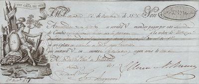 [Letra de cambio a favor del capitán del regimiento próximo a Valladolid]. [Material gráfico]