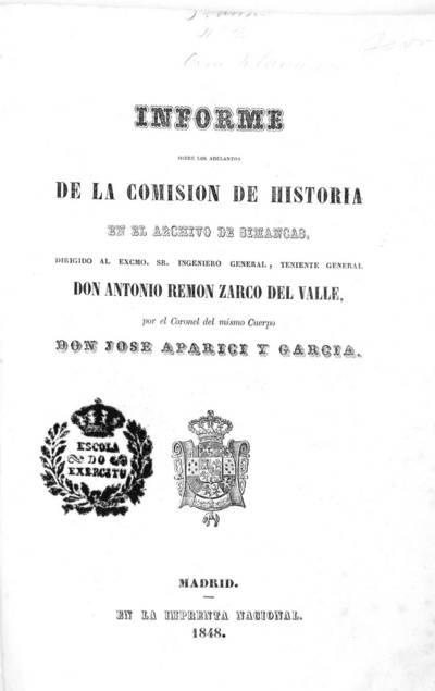 Informe sobre los adelantos de la comisión de historia en el Archivo de Simancas