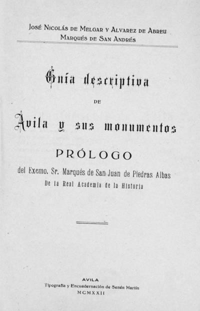 Guía descriptiva de Ávila y sus monumentos