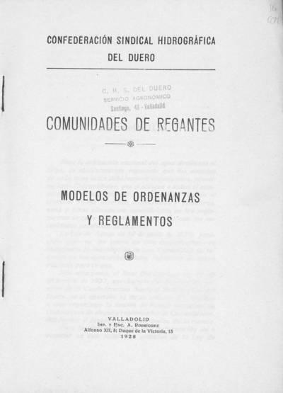 Comunidades de regantes : modelos de ordenanzas y reglamentos
