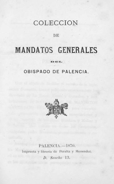 Colección de mandatos generales del Obispado de Palencia