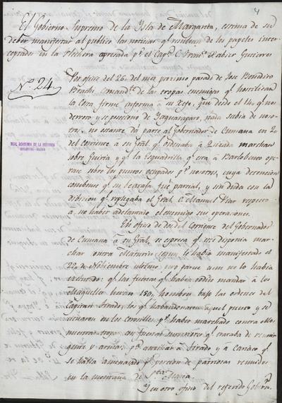 El gobierno de la isla Margarita y en su nombre Juan Antonio de Silva, manifiesta al público las noticias resultantes de los papeles interceptados en la flechera apresada por el capitán Francisco Javier Gutiérrez. Palacio de Gobierno de Margarita, 7 de diciembre de 1814.