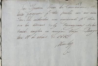 Varias papeletas en que diversos habitantes de Pampatar solicitan pasaporte para trasladarse a otras poblaciones. Fechadas en Pampatar a 19 de abril de 1815, y firmadas por Francisco Tomás Morales.