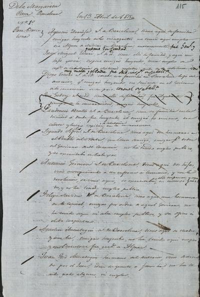 Diversas relaciones dé los habitantes de la isla Margarita que sirvieron de información a los realistas para seguir una determinada conducta con cada uno de ellos. Isla Margarita, 13 de abril de 1815.