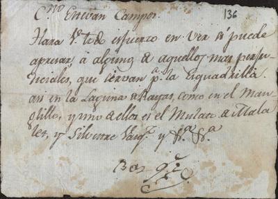 Nota dirigida a Esteban Campos, Sargento de Caballería en Sabana, por Vasquez, Comandante Militar de San Juan, para que intente apresar a determinados hombres. Sin fecha.