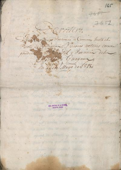 Derrotero desde Carupano, provincia de Cumaná, hasta el puerto de Guayana, y varias noticias correspondientes a la capital y provincia de la expresada Guayana, en 22 de mayo de 1815, por Domingo Antonio Pita, Capitán del Ejército Expedicionario.