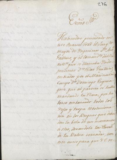 Carta de don Francisco de Montalvo a don Domingo Esquiaquiz comunicándole la llegada a la plaza de Cartagena para la toma de posesión del brigadier don Antonio Cano, Coronel del Regimiento de Infantería de León. Torrecilla, 6 de diciembre de 1815.