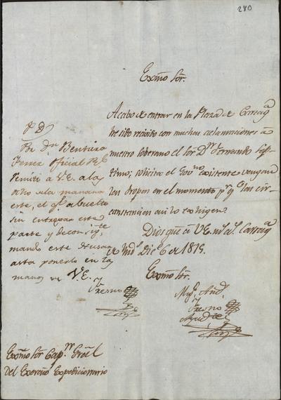 Carta de Miguel Andrés Fresno a don Pablo Morillo comunicándole que ha entrado en la plaza de Cartagena con grandes aclamaciones al Rey Fernando VII y solicita la pronta llegada del resto de las tropas. Cartagena, 6 de diciembre de 1815.