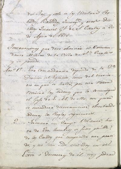 Instrucciones que debe observar el Comandante Militar de la Villa de San Carlos y su partido, dependiente de la 2.° División del Ejército. Cuartel General de San Carlos, 20 de agosto de 1818.