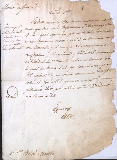 El Ministro de Guerra, Eguía, a Morillo, para que le comunique todos los datos posibles acerca del Teniente de Infantería don Hermenegildo Bravo. Madrid, 6 de enero de 1818.
