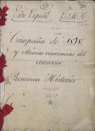 Ejército Expedicionario: Campaña de 1818 y últimos acontecimientos del año anterior: Resumen histórico, por Ramón Correa y Guevara, Comandante General de la 4.° División del Ejército.