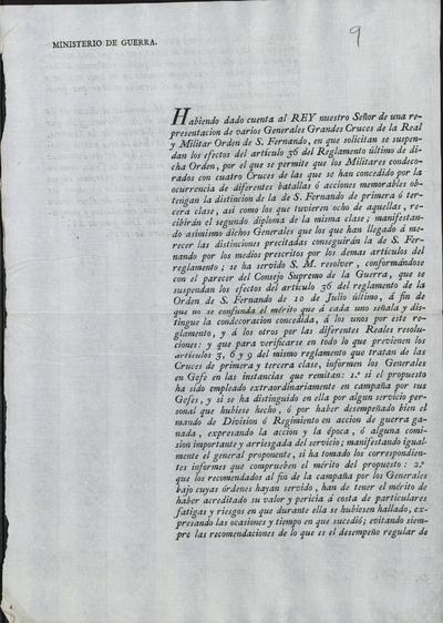 [Orden de Camposagrado a Morillo sobre lo resuelto acerca de la suspensión del artículo 36 del Reglamento de la Real y Militar Orden de San Fernando, lo mismo que le comunica el nuevo diseño de la placa y banda de la Gran Cruz de San Hermenegildo. Madrid, 11 de enero de 1816].