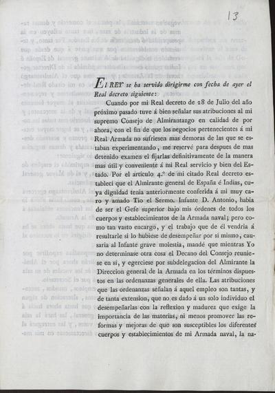 [Real Decreto de S.M. Fernando VII en relación con la Armada de España e Indias. Madrid, 16 de febrero de 1816].