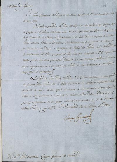 Comunicación de Camposagrado a Pablo Morillo acerca de las quejas presentadas al gobierno británico por el embajador español en Londres, sobre lo actuado por los ingleses en América y su intervención y ayuda a los insurgentes. Madrid, 20 de febrero de 1816.