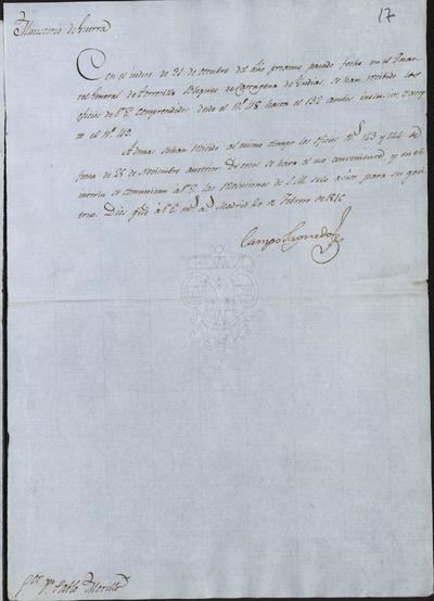El Ministro de la Guerra, Camposagrado, comunica a Pablo Morillo que se han recibido los oficios n.° 118 hasta 132, excepto el 119, habiéndose recibido también el 143 y 144. Madrid, 20 de febrero de 1816.