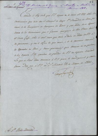 El Ministro de la Guerra, Camposagrado, comunica a Morillo lo resuelto por S. M. en el asunto que tuvo con el Mariscal de Campo Alejandro de Horre, preso en Cartagena de Indias por los insurgentes. Madrid, 25 de marzo de 1816.