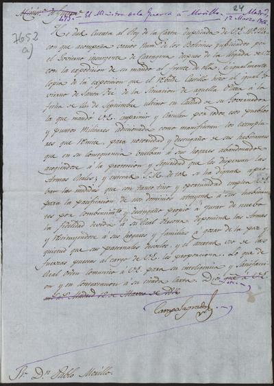 El Ministro de la Guerra, Camposagrado, comunica a Morillo la recepción de algunos boletines y proclamas insurgentes que le manda el Capitán General de Costafirme, y le felicita por la forma con que está llevando a cabo la pacificación de las tierras conquistadas. Madrid, 12 de marzo de 1816.