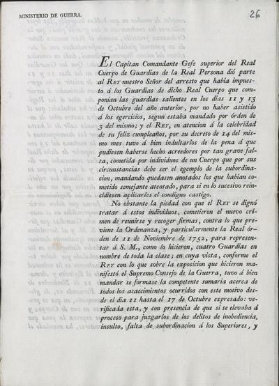 [Camposagrado comunica a Morillo lo resuelto por S.M. en el delito de inobediencia de unos guardias pertenecientes al Real Cuerpo de Guardias de la Real Persona. Palacio, 9 de marzo de 1816]