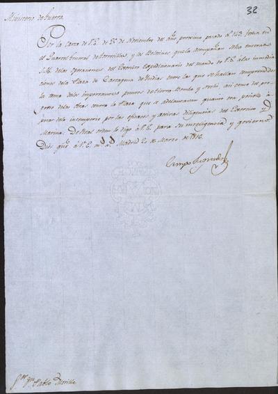 Otro oficio de Camposagrado a Morillo en el que le comunica que S. M. se ha enterado de lo que le expresa relativo a las operaciones del Ejército Expedicionario, entre ellas la toma de Tierra-Bomba y Nechi. Madrid, 20 de marzo de 1816.