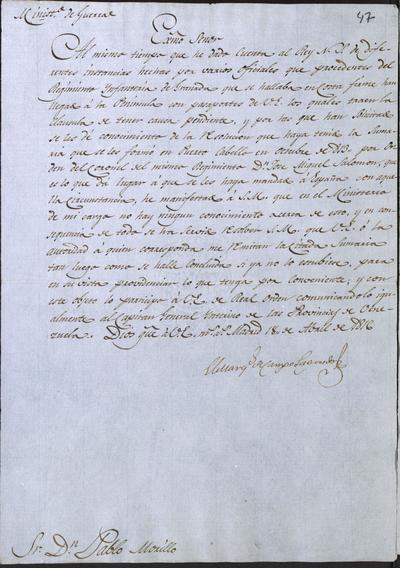 El Ministro de la Guerra, Camposagrado, comunica a Morillo lo resuelto acerca de la sumaria formada en Puerto Cabello en octubre de 1813 a algunos militares, por orden del Coronel don José Miguel Salomón.