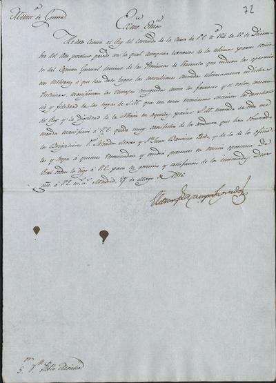 El Ministro de Guerra, Camposagrado, comunica a Morillo la felicitación de S. M. a los brigadieres don Salvador de Moxó y donjuán Bautista Pardo por su actuación en América, y que los tendrá presentes en el momento oportuno. Madrid, 27 de mayo de 1918.