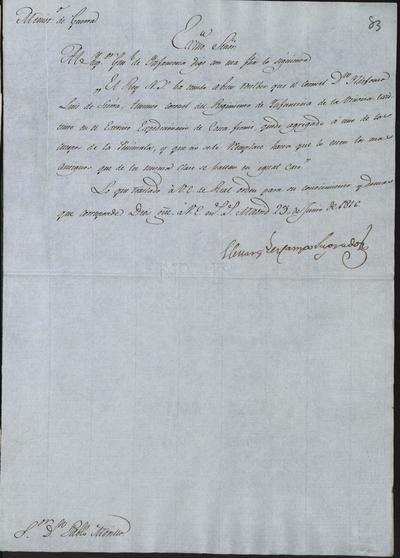 El Ministro de Guerra comunica a Morillo lo resuelto acerca del Coronel del Regimiento de Infantería de la Victoria, don Ildefonso Luis de Sierra, con el fin de que quede agregado a uno de los cuerpos de la península. Madrid, 23 de junio de 1816.
