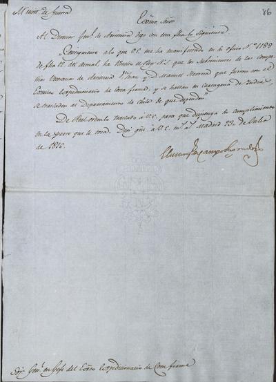 El Ministro de Guerra, Camposagrado, comunica a Morillo lo resuelto sobre los Subtenientes de las Compañías Veteranas de Artillería, don Juan y don Manuel Herrera, que fueron con el Ejército Expedicionario de Costafirme. Madrid, 23 de julio de 1816.