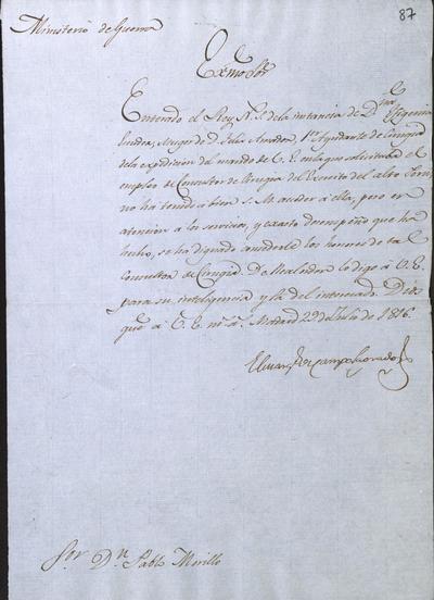 El Ministro de Guerra comunica a Morillo lo resuelto sobre don Félix Amador, primer ayudante de cirugía de la Expedición de Costafirme. Madrid, 29 de julio de 1816.