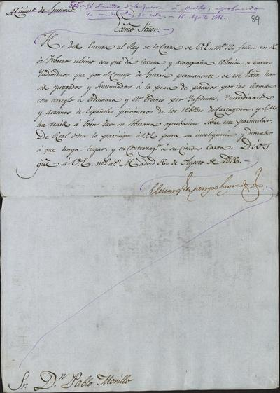 El Ministro de Guerra, Camposagrado, comunica a Morillo lo resuelto por S. M. acerca de la sentencia dada por el Consejo de Guerra a varios individuos, y su cumplimiento. Madrid, 16 de agosto de 1816.