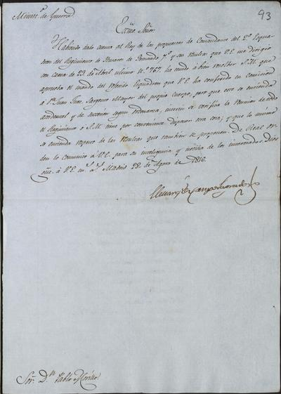 El Ministro, Camposagrado, comunica a Morillo lo resuelto por S. M. sobre el mando del 2° escuadrón del Regimiento de Húsares de Fernando VII, que fue dado en comisión a don Juan Juez, sargento mayor del propio cuerpo. Madrid, 28 de agosto de 1816.