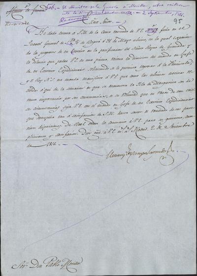 El Ministro de Guerra, Camposagrado, comunica a Morillo lo resuelto por S. M. al reiterar éste la dimisión de su cargo. Madrid, 2 de septiembre de 1816.
