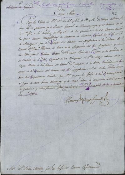 El Ministro de Guerra, Camposagrado, comunica a Morillo que S. M. se ha enterado de las operaciones del Ejército Expedicionario en Medellín, Angostura, y Santa Fe. Madrid, 9 de septiembre de 1816.
