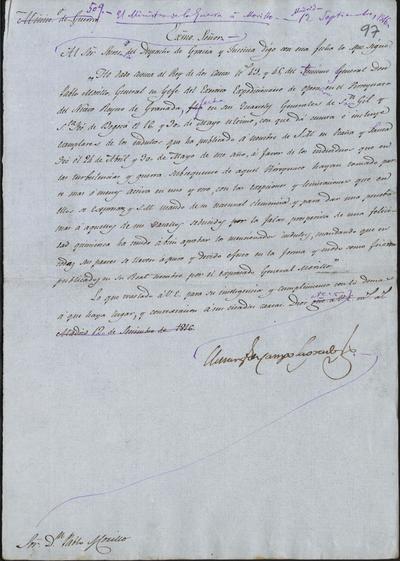 El Ministro de la Guerra, Camposagrado, comunica a Morillo haber recibido las cartas en las que habla de los indultos publicados en Santa Fe y Ocaña, el 24 de abril y 30 de mayo del año en curso. Madrid, 12 de septiembre de 1816.